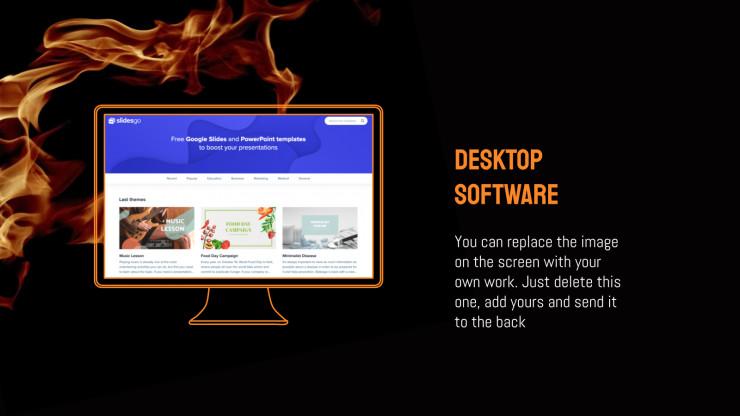 Modelo de apresentação Plano de fundo de fogo