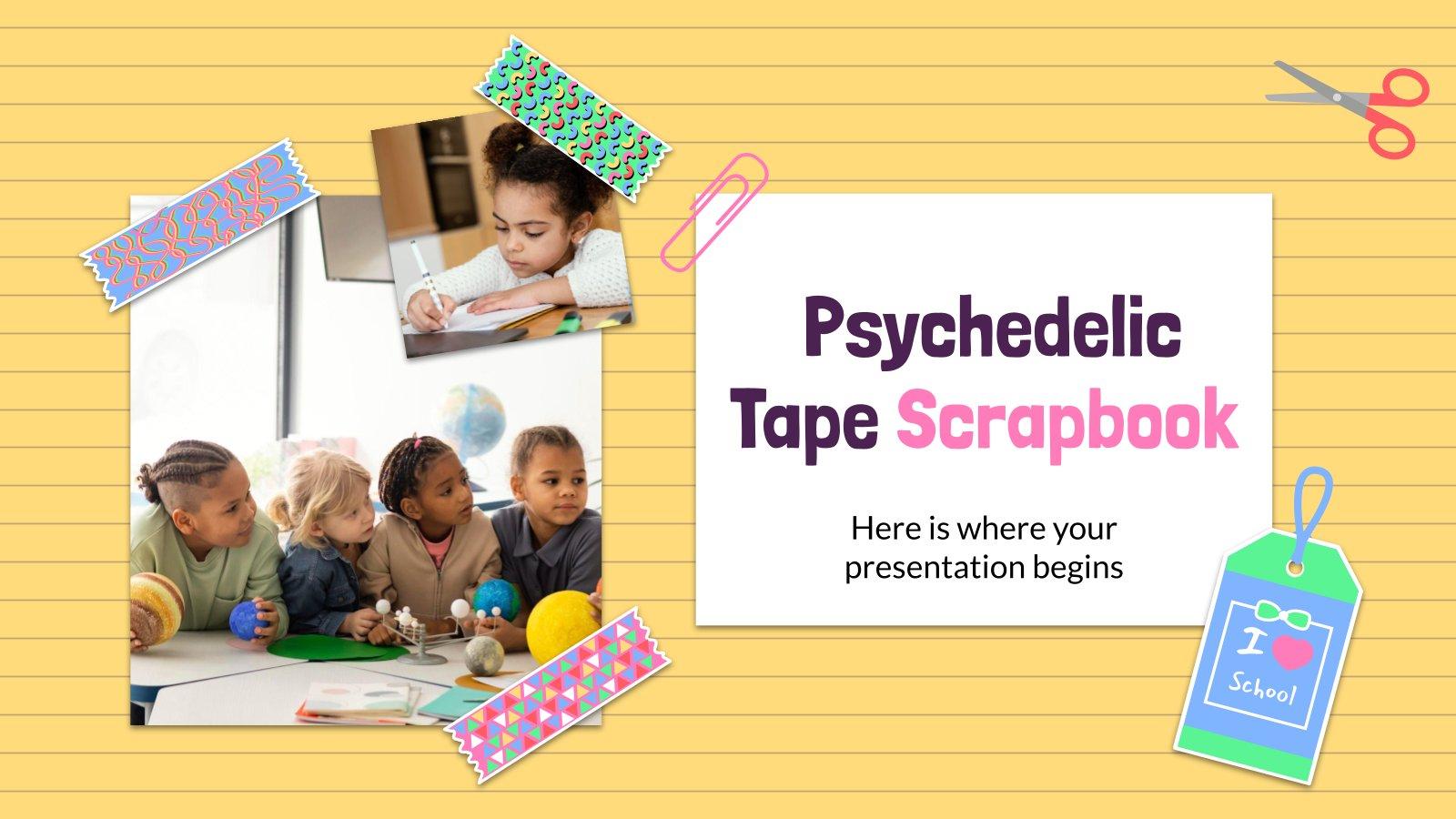 Modelo de apresentação Centro escolar scrapbook de fita psicodélica