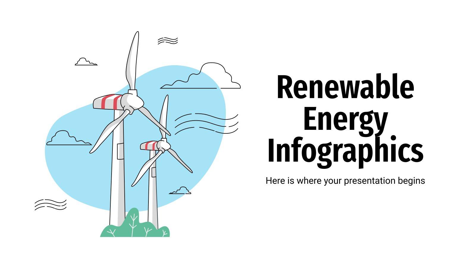 Infografiken zu erneuerbaren Energien Präsentationsvorlage