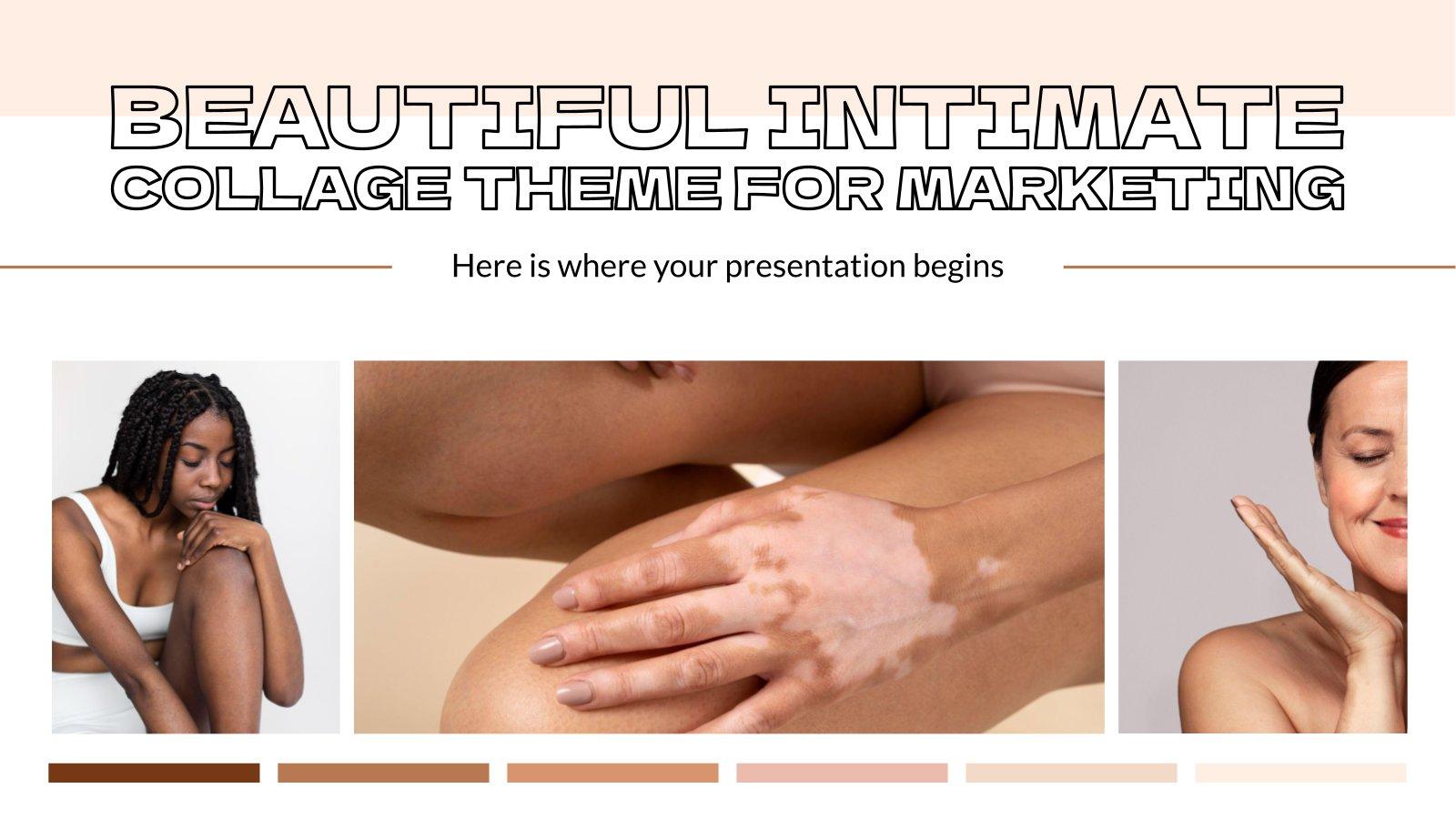Plantilla de presentación Tema para marketing con collages sobre belleza