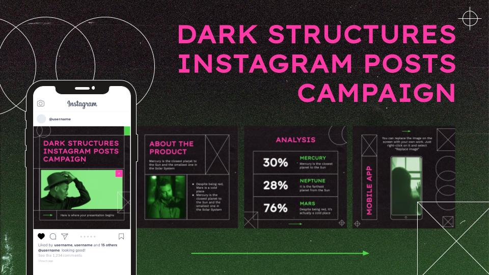 Campagne avec des structures sombres pour les publications d'Instagram : Modèles de présentation