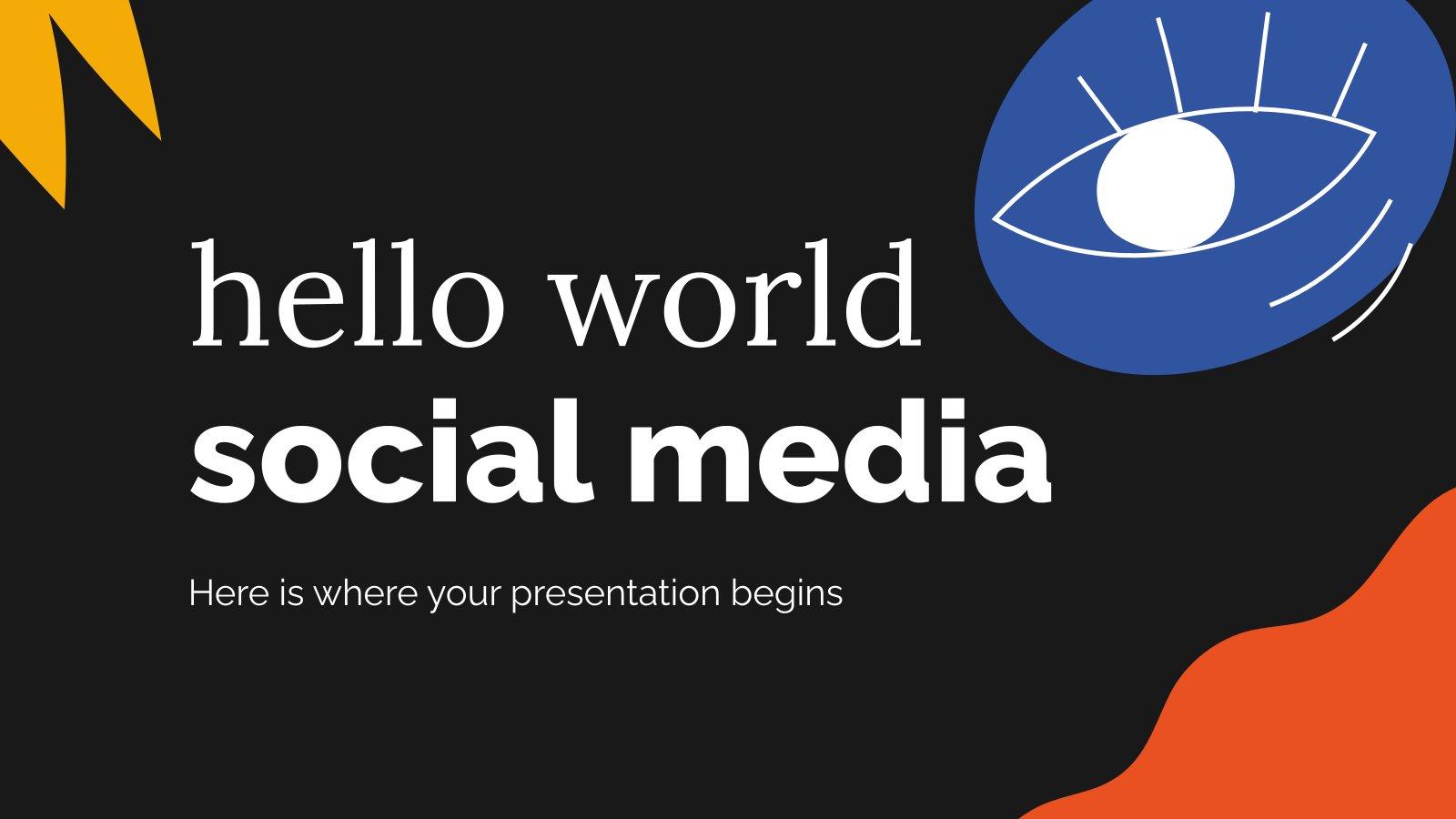 Modelo de apresentação Olá, mundo e redes sociais