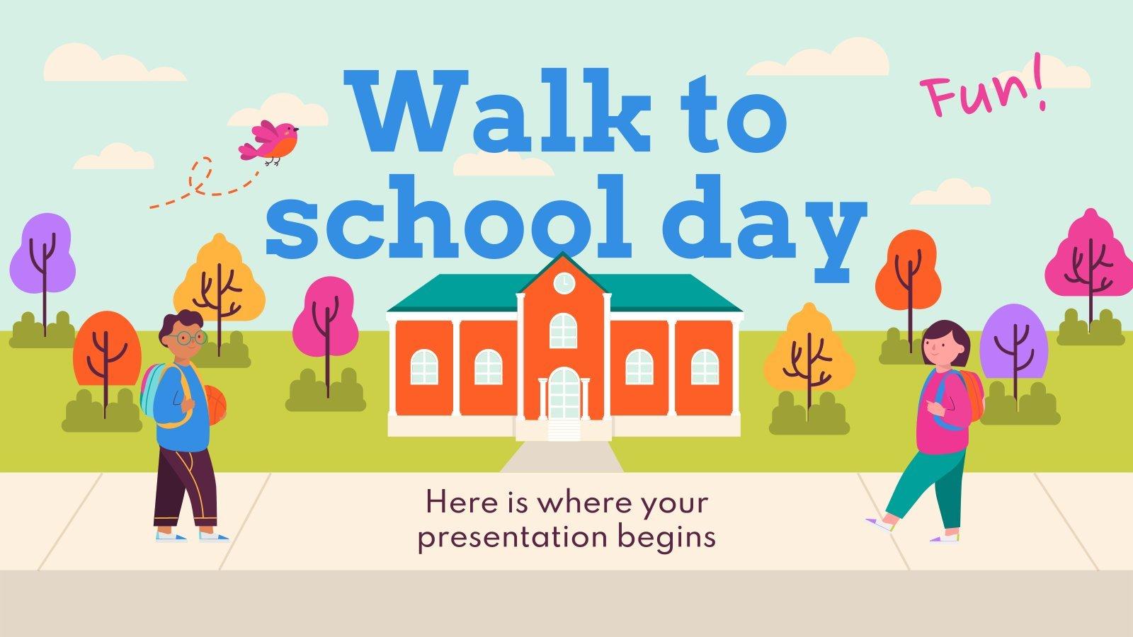Zu Fuß zur Schule Präsentationsvorlage