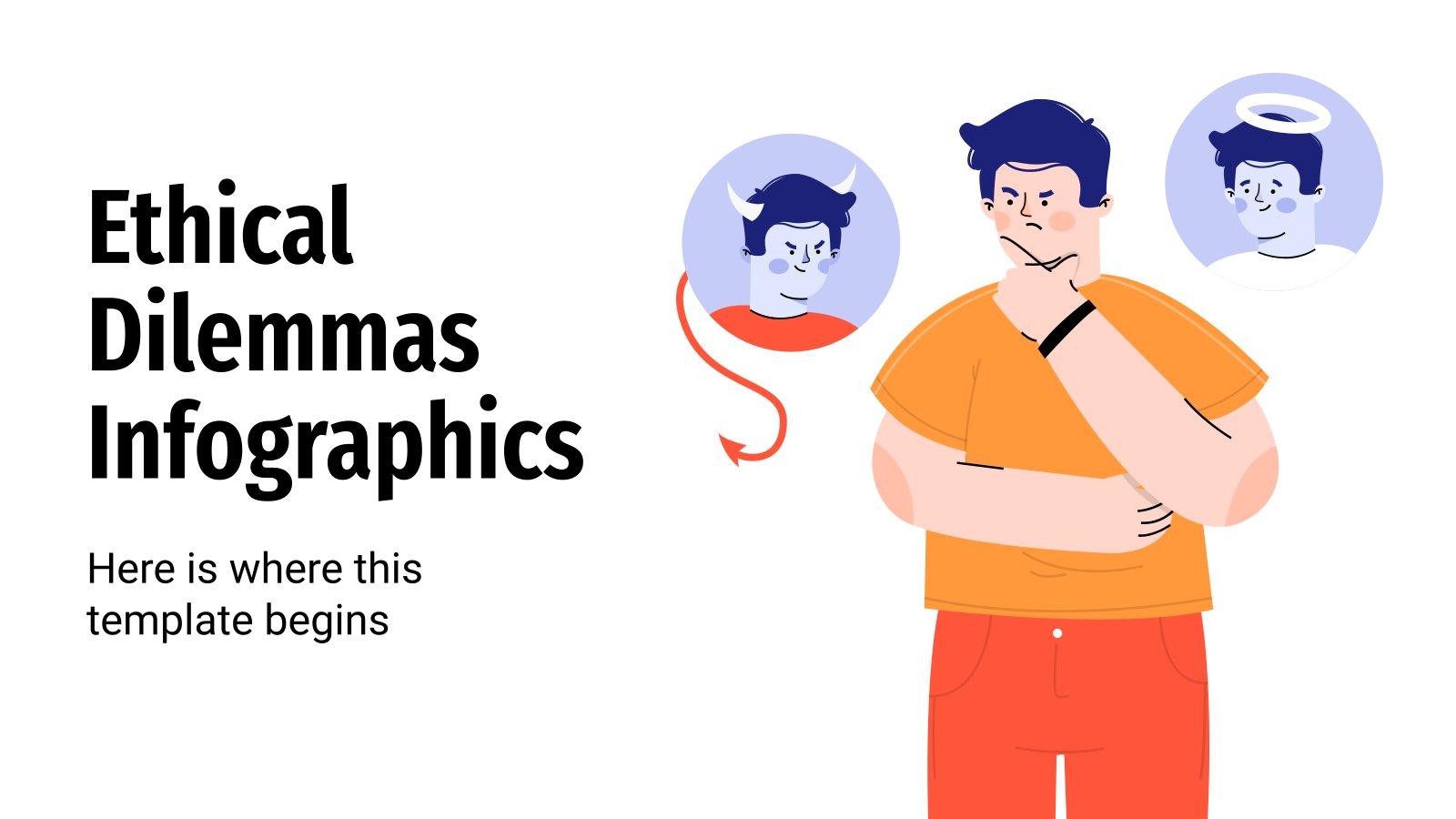 Ethische Dilemmas Infografiken Präsentationsvorlage