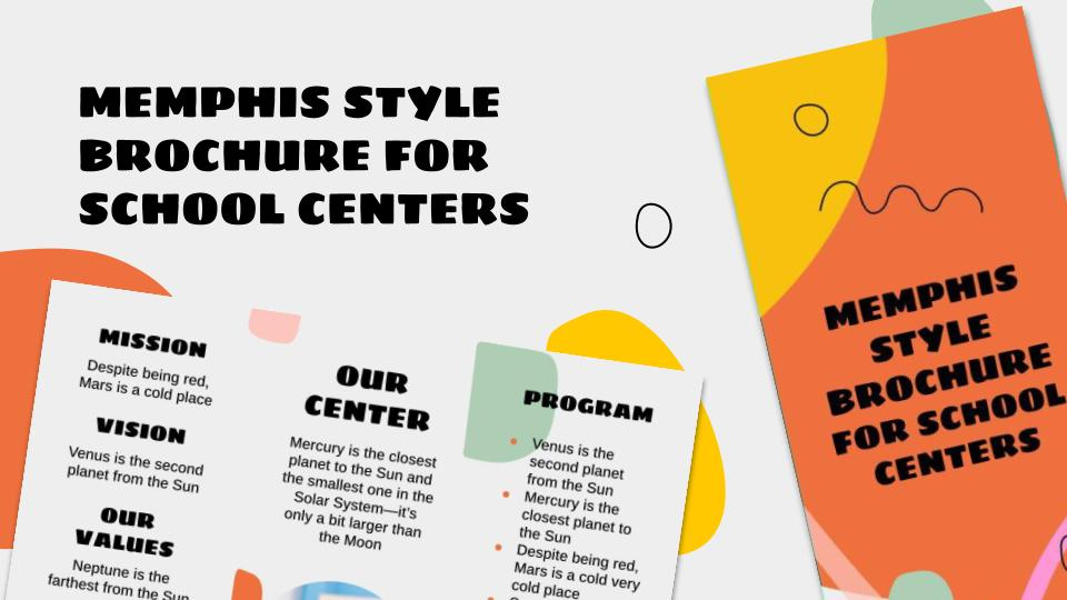 Broschüre im Memphis Stil für Schulzentren Präsentationsvorlage