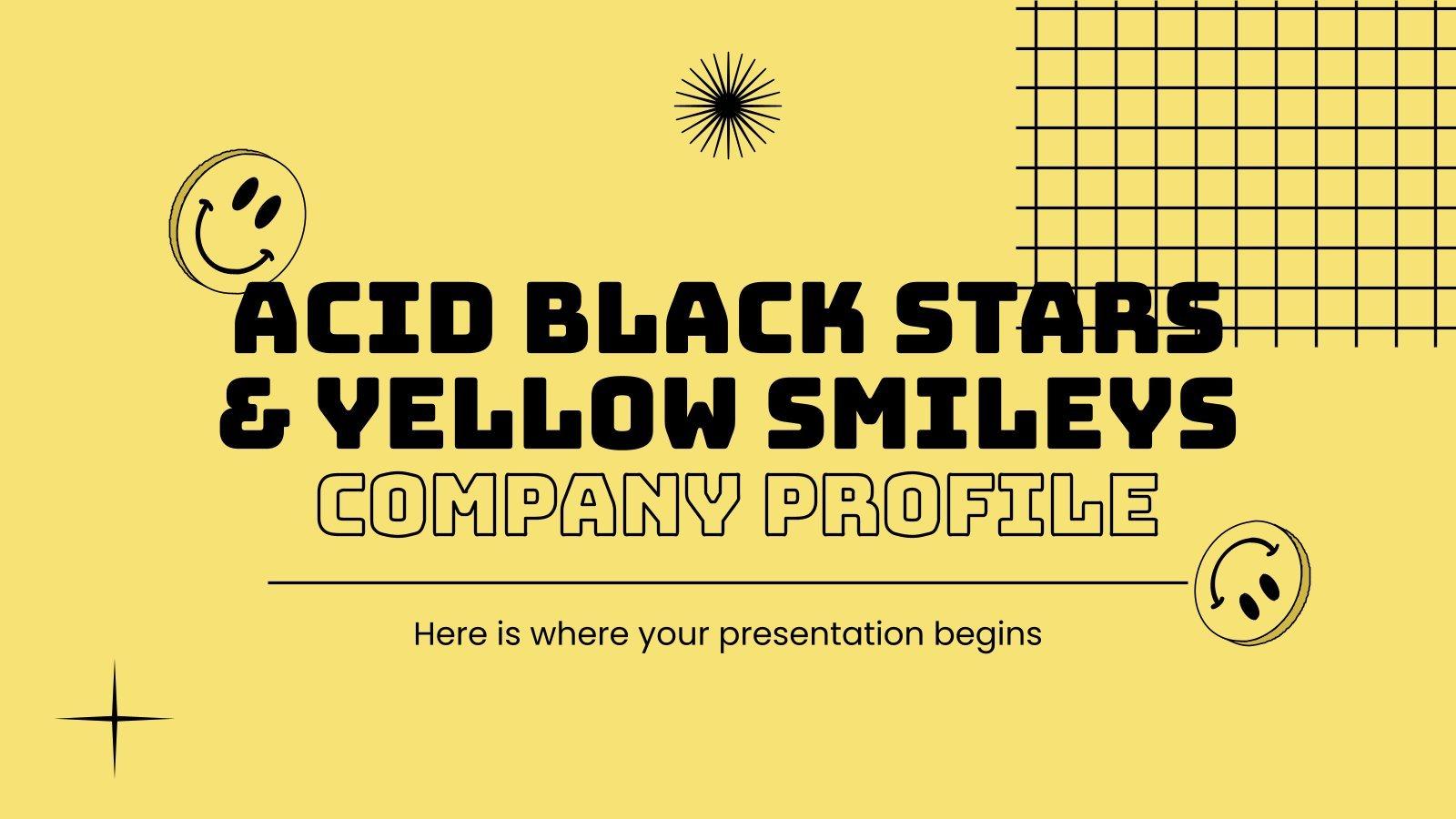 Modelo de apresentação Perfil da empresa com sorrisos amarelos e estrelas pretas