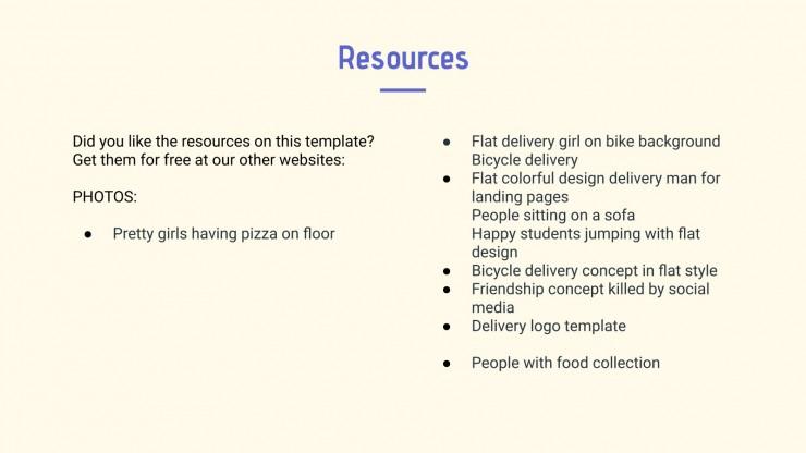 Application de livraison de nourriture : Modèles de présentation