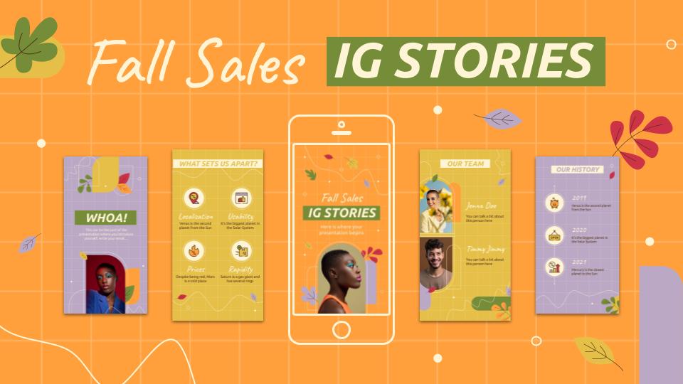 IG-Stories aus dem Herbstschlussverkauf Präsentationsvorlage