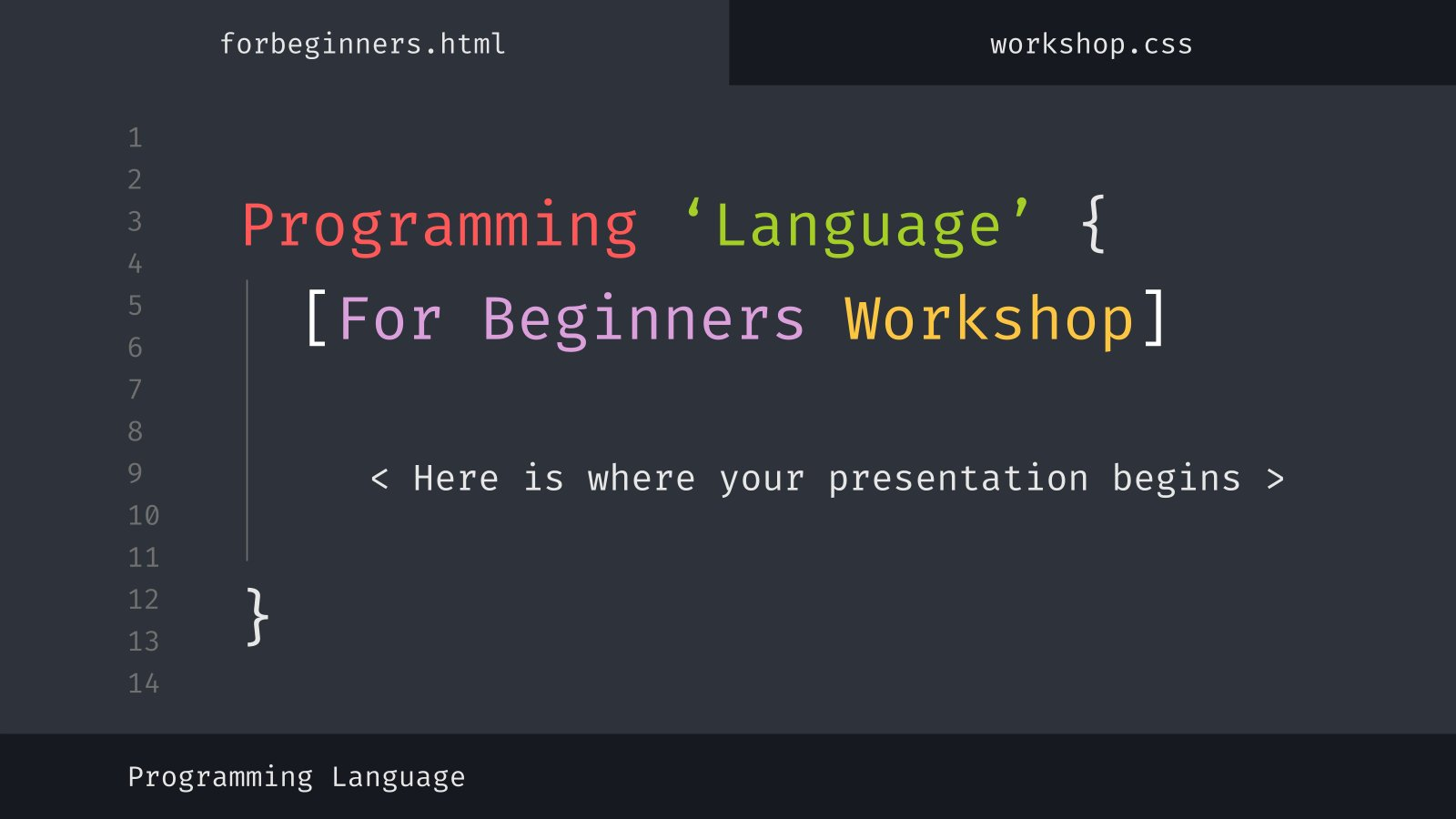 Atelier de programmation pour des débutants : Modèles de présentation