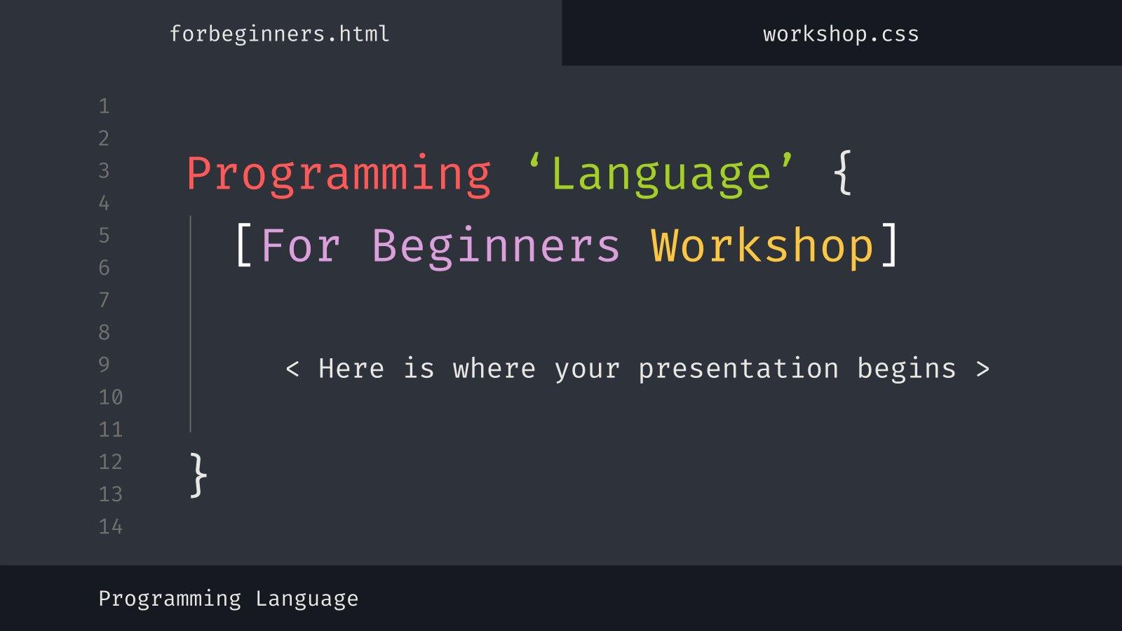 Modelo de apresentação Oficina de linguagens de programação para iniciantes