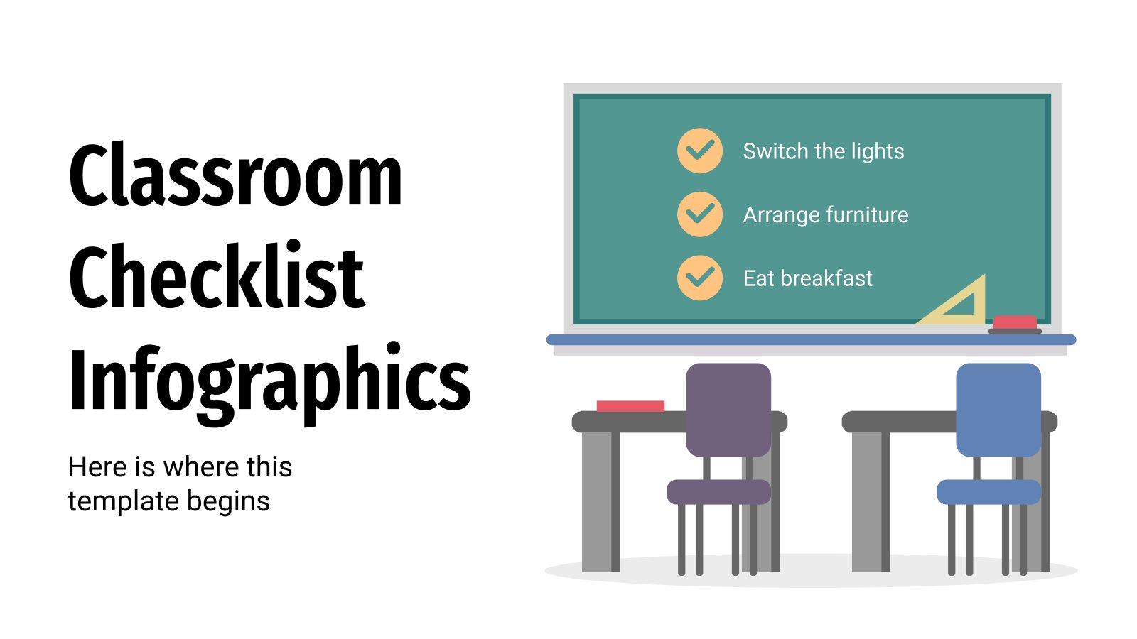 Klassenzimmer Checkliste Infografiken Präsentationsvorlage