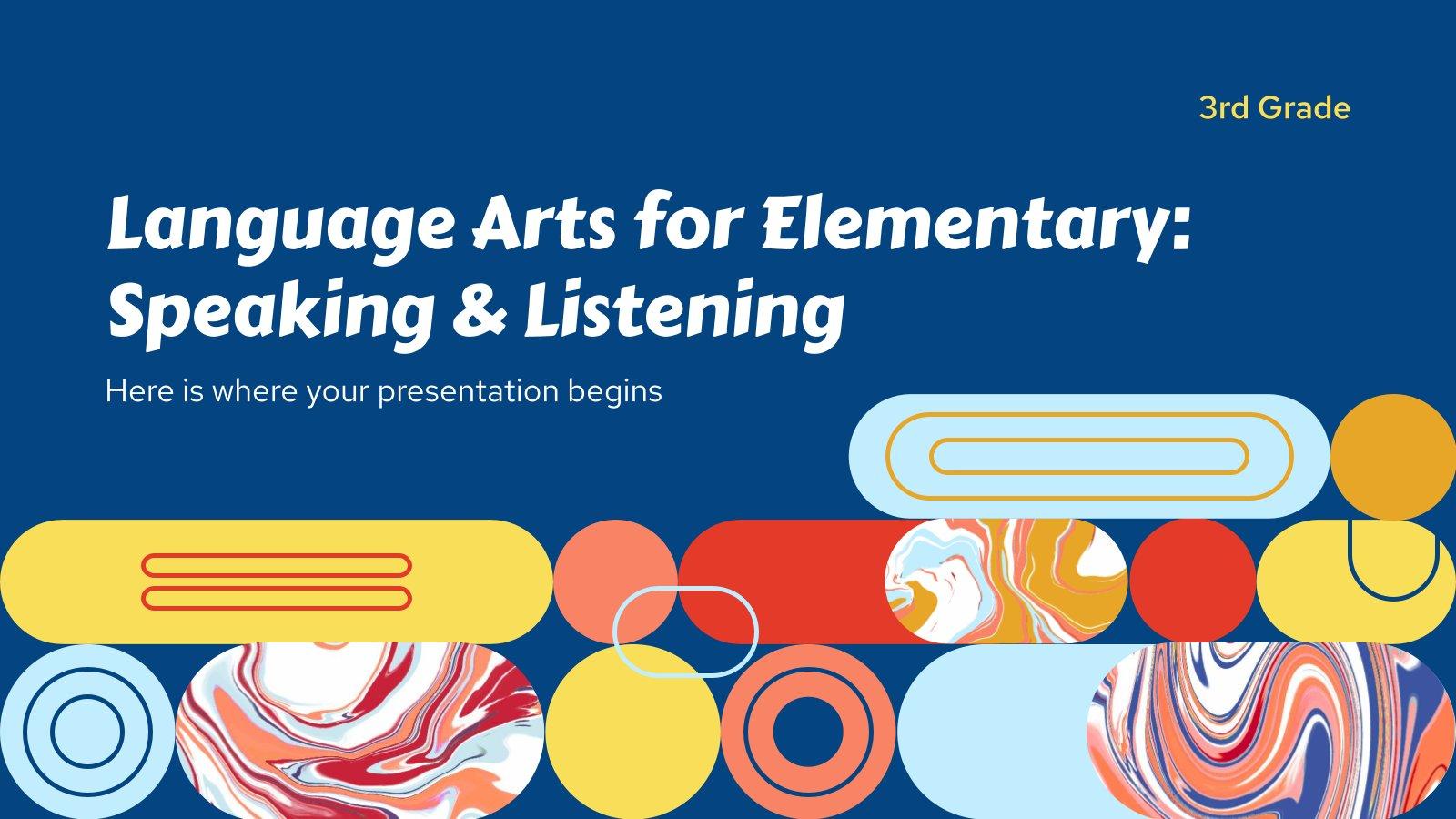 Language Arts for Elementary - 3rd Grade: Speaking & Listening presentation template