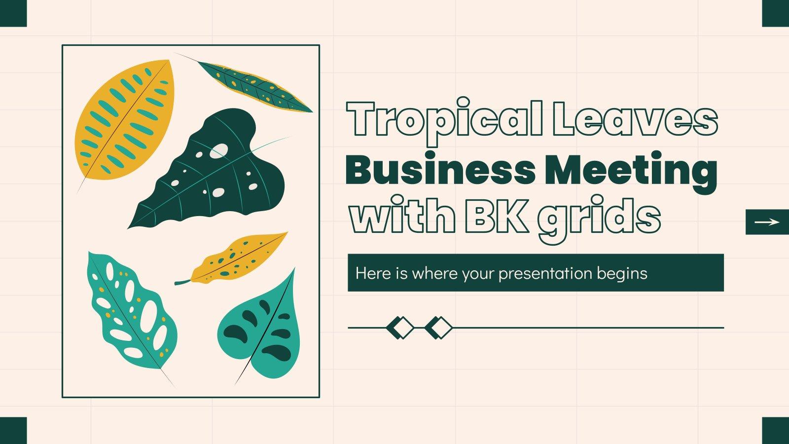 Plantilla de presentación Reunión de negocios con plantas tropicales