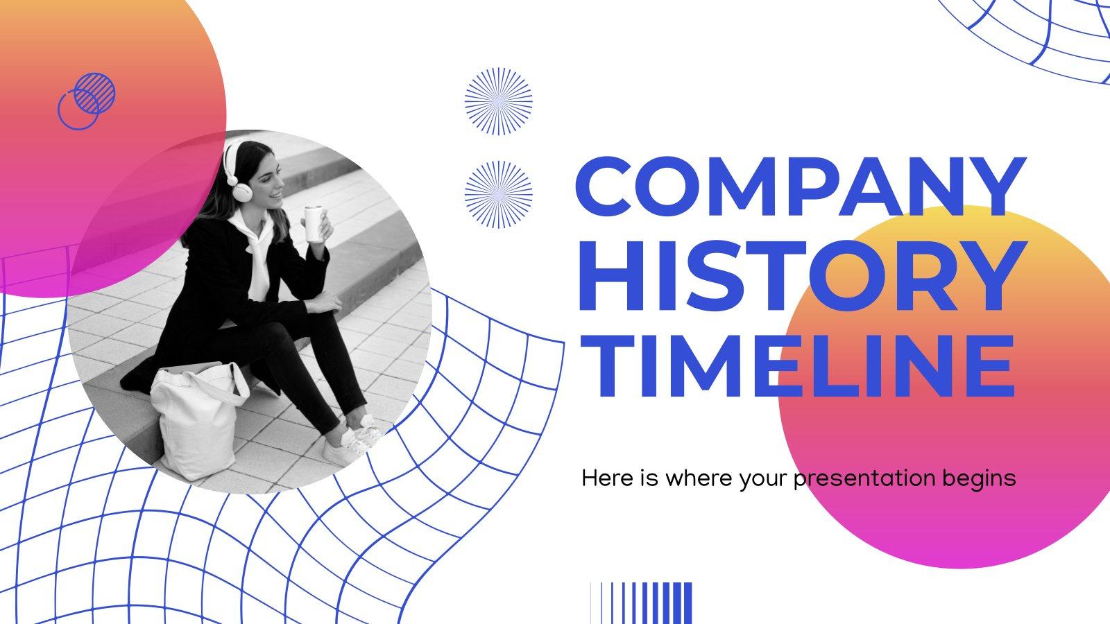 Modelo de apresentação Cronologia e história da empresa