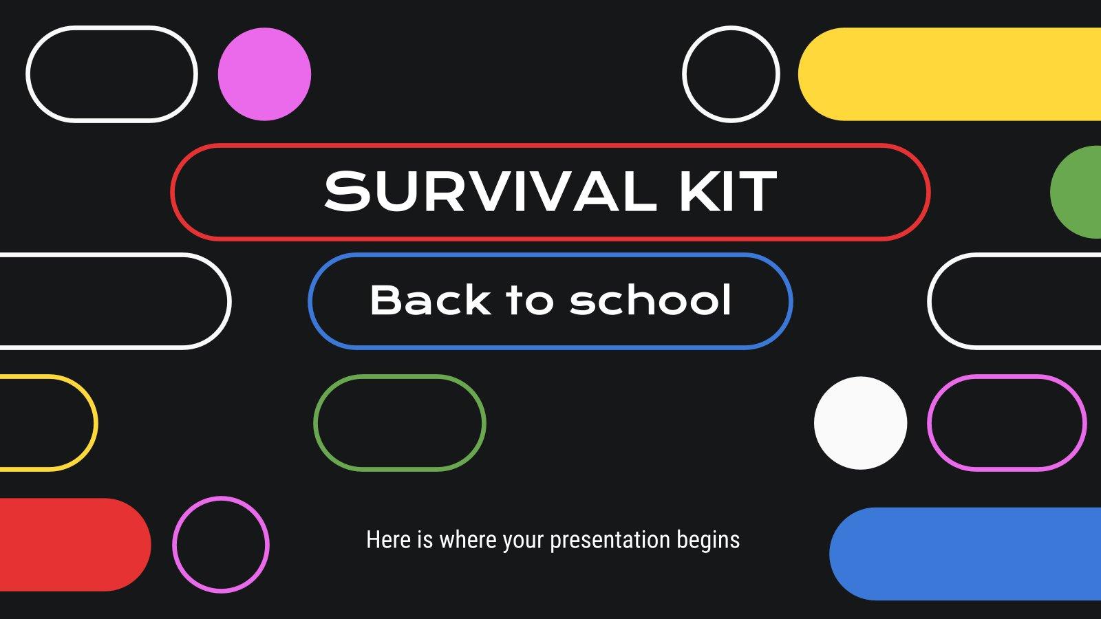 Modelo de apresentação Kit de sobrevivência: Volta às aulas
