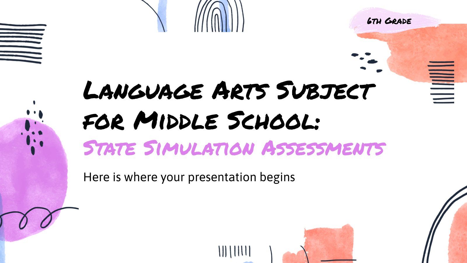 Plantilla de presentación Simulación de exámenes de lengua para secundaria