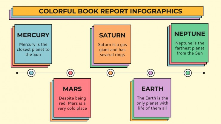 Colorful Book Report Infographics presentation template