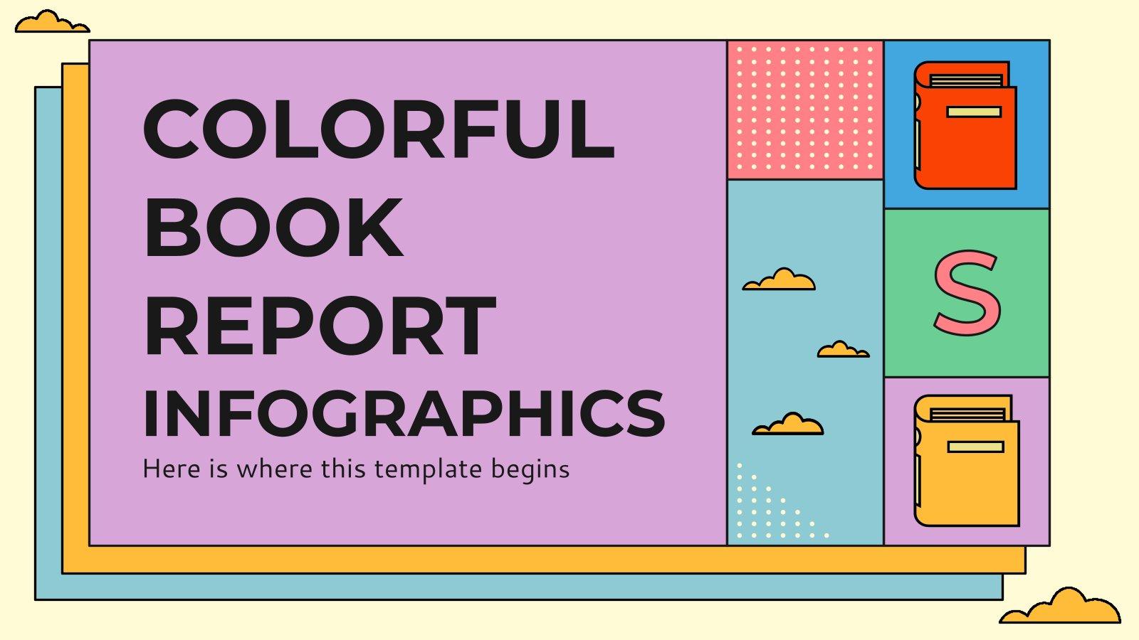 Infografiken Bunter Buchbericht Präsentationsvorlage