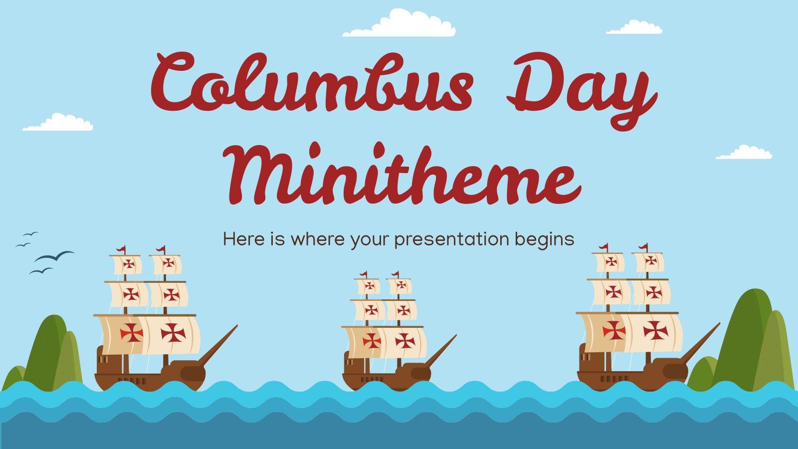 Plantilla de presentación Minitema del Día de Colón