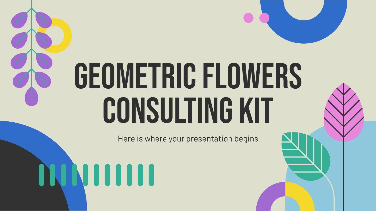 Modelo de apresentação Kit de consultoria com flores geométricas