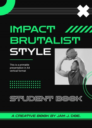 Impact Brutalist Style: Student Book presentation template