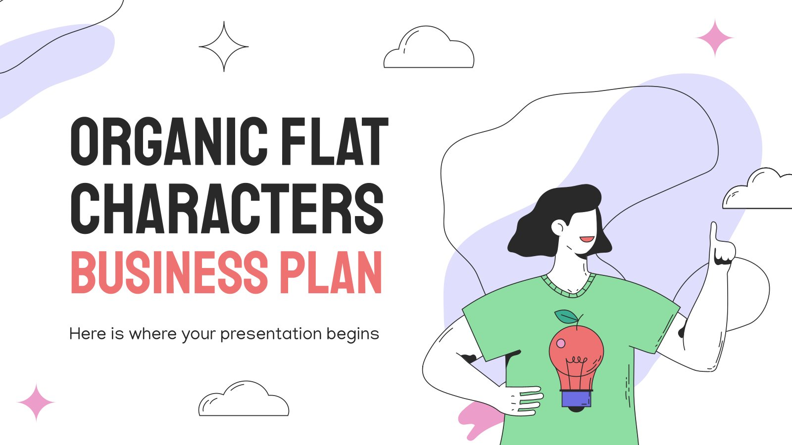 Modelo de apresentação Plano de negócios com personagens flat
