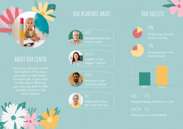 Floral Style Brochure for School Centers presentation template