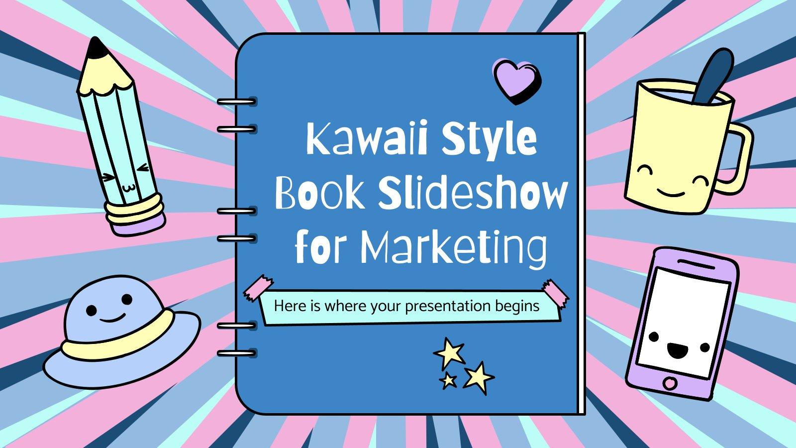 Modelo de apresentação Marketing: apresentação de slides do livro em estilo kawaii