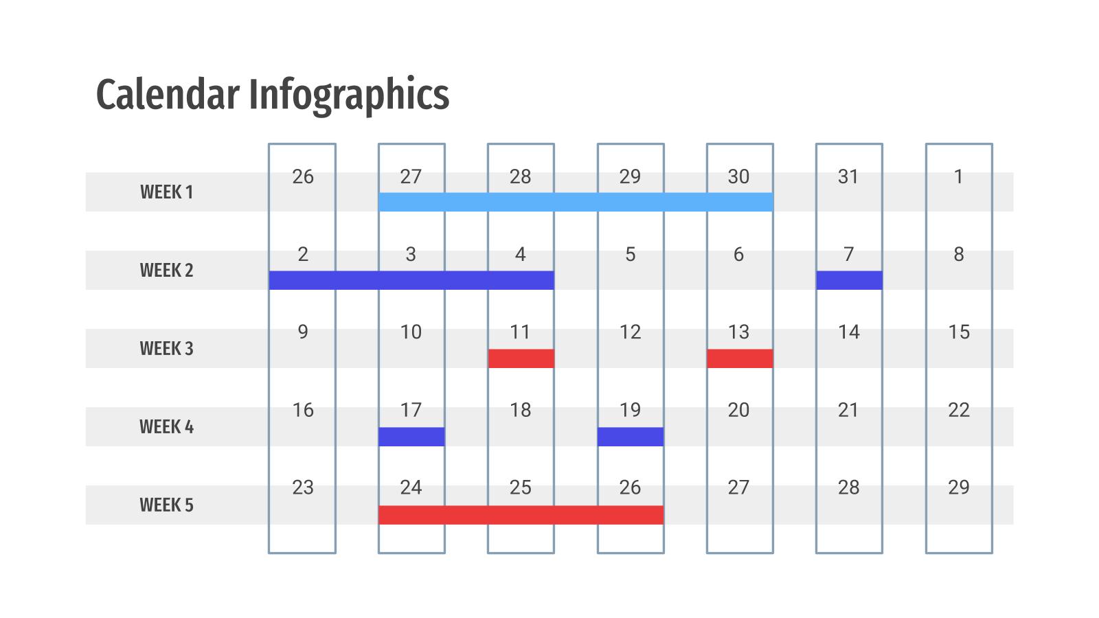 Modelo de apresentação Infográficos de calendários