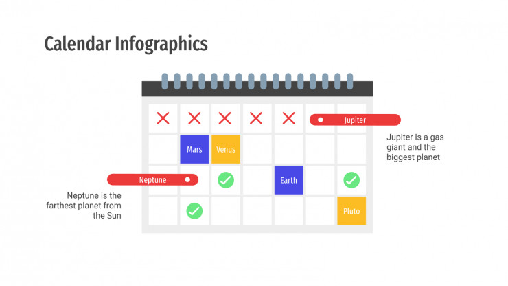 Plantilla de presentación Infografías de calendarios