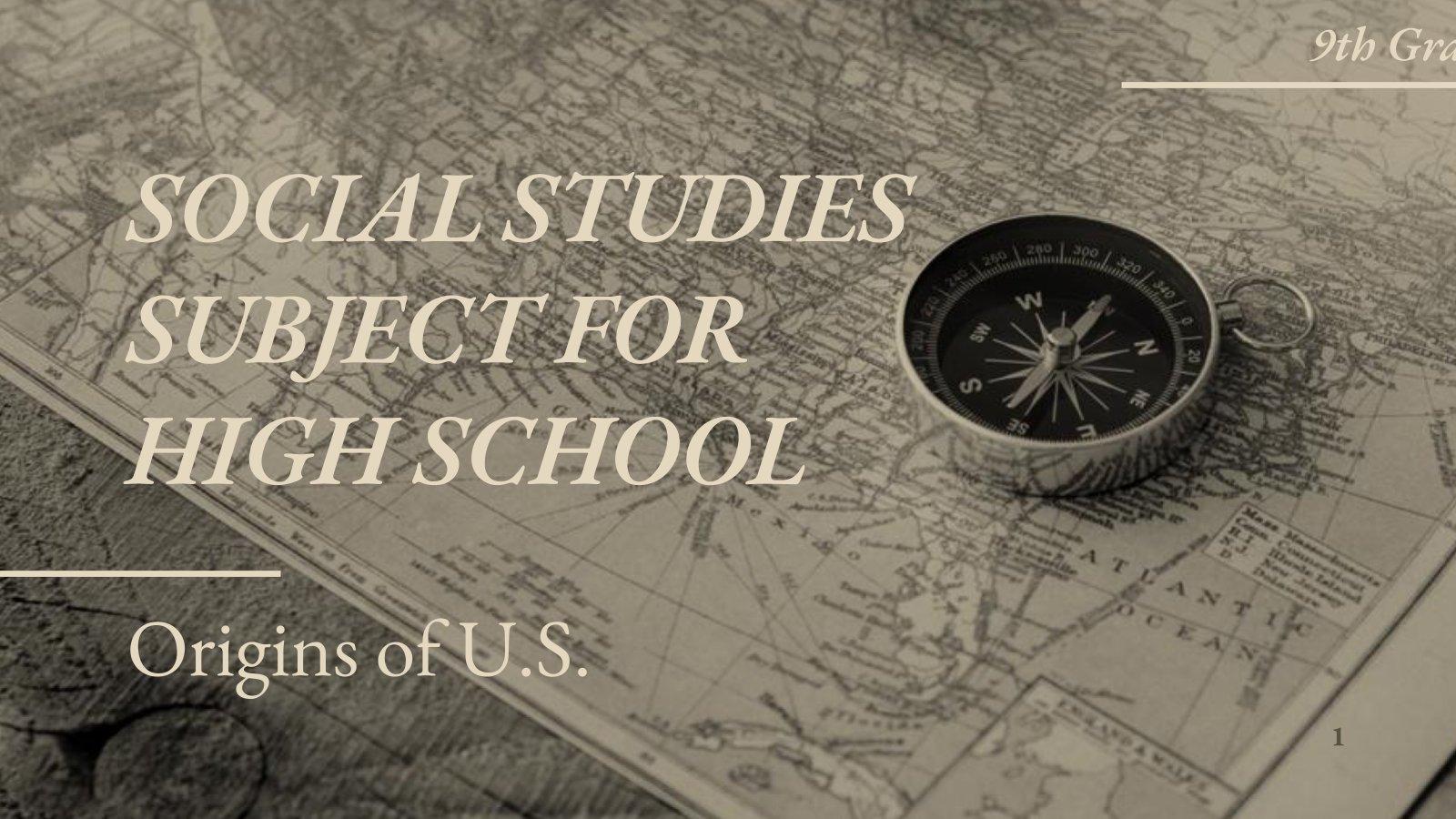 Plantilla de presentación Clase sobre los orígenes de EE. UU. para el instituto