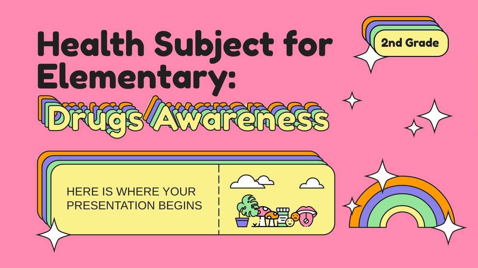 Modelo de apresentação Aula sobre prevenção de drogas para o 2º ano da escola primária