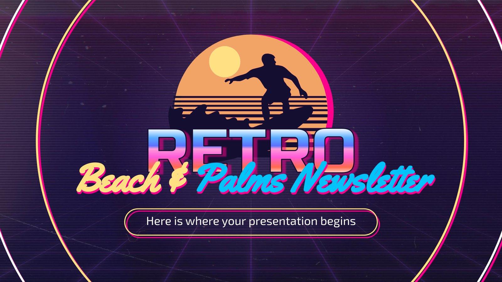 Newsletter rétro plage et palmiers : Modèles de présentation