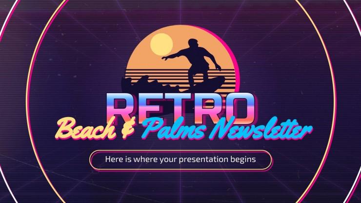 Newsletter Retro Strand & Palmen Präsentationsvorlage