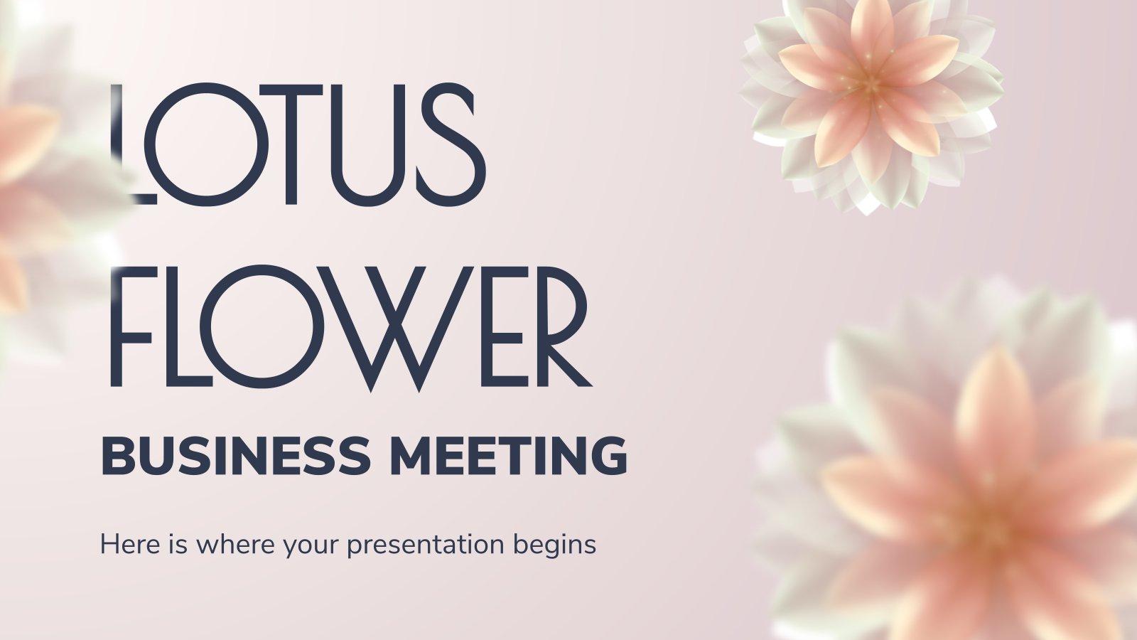 Modelo de apresentação Reunião de negócios: flores de lótus