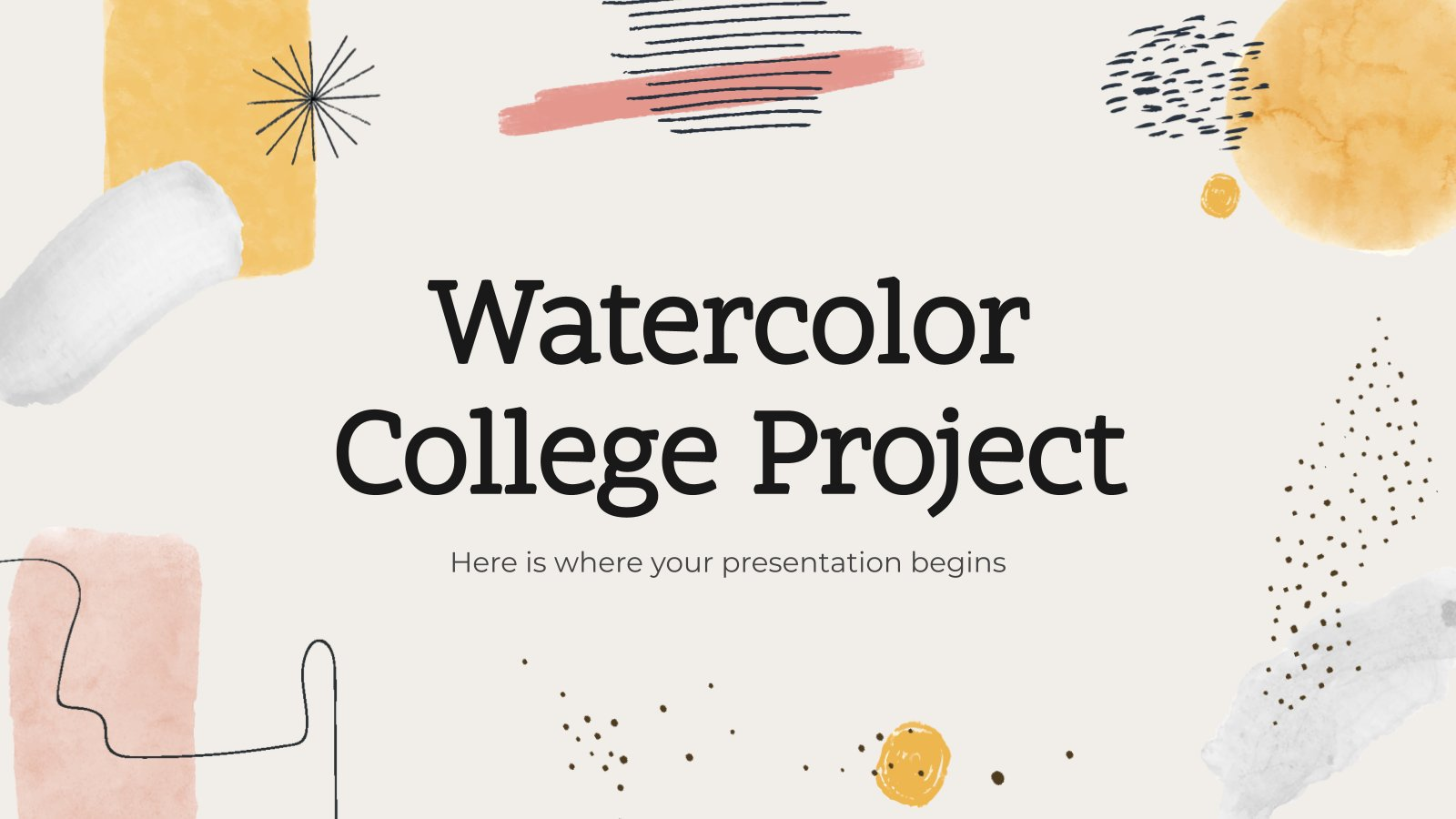 Modelo de apresentação Projeto para a faculdade com aquarela