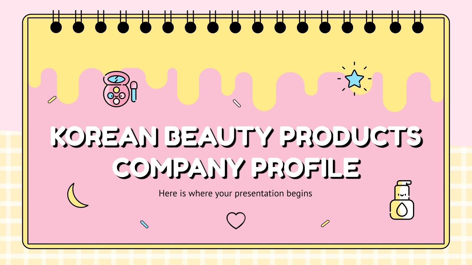 Modelo de apresentação Perfil da empresa de produtos de beleza