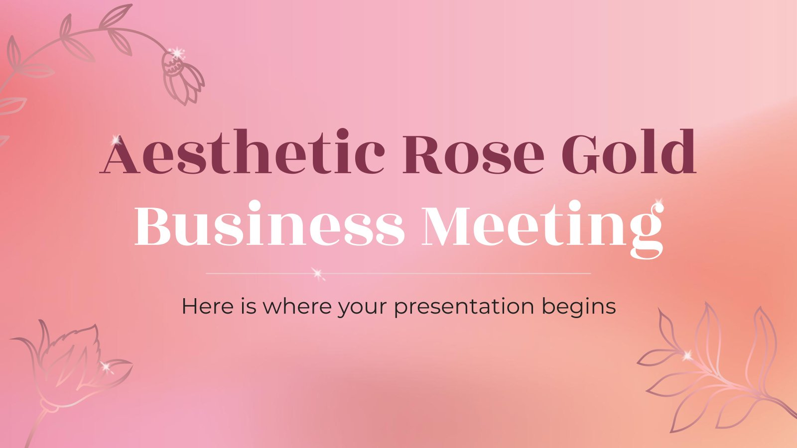 Aesthetic Rose Gold Business Meeting presentation template
