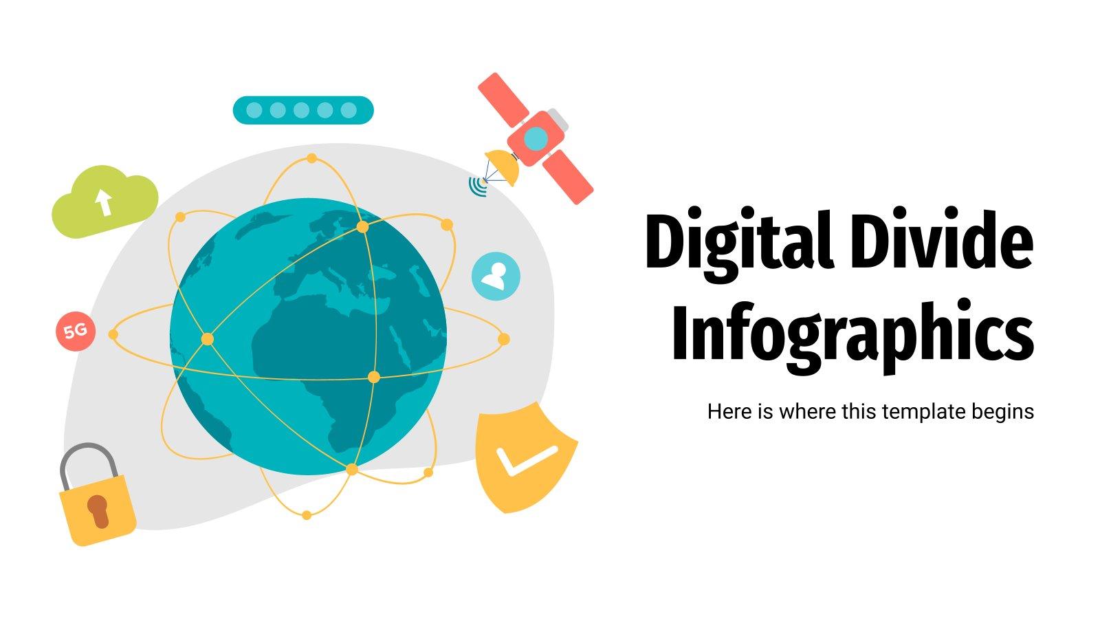 Modelo de apresentação Infográficos de desigualdade digital