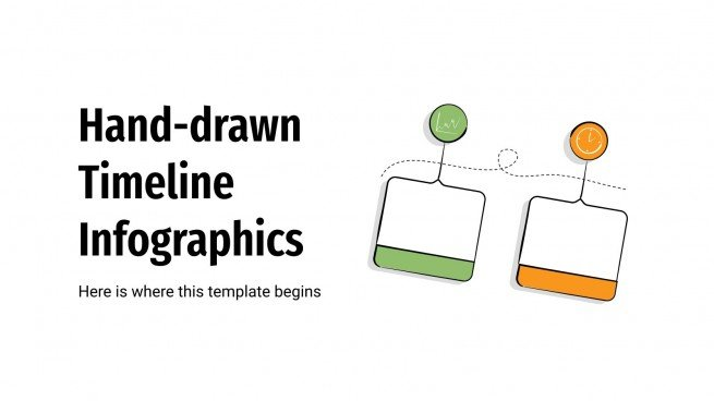 Handgezeichnete Zeitleiste-Infografiken Präsentationsvorlage