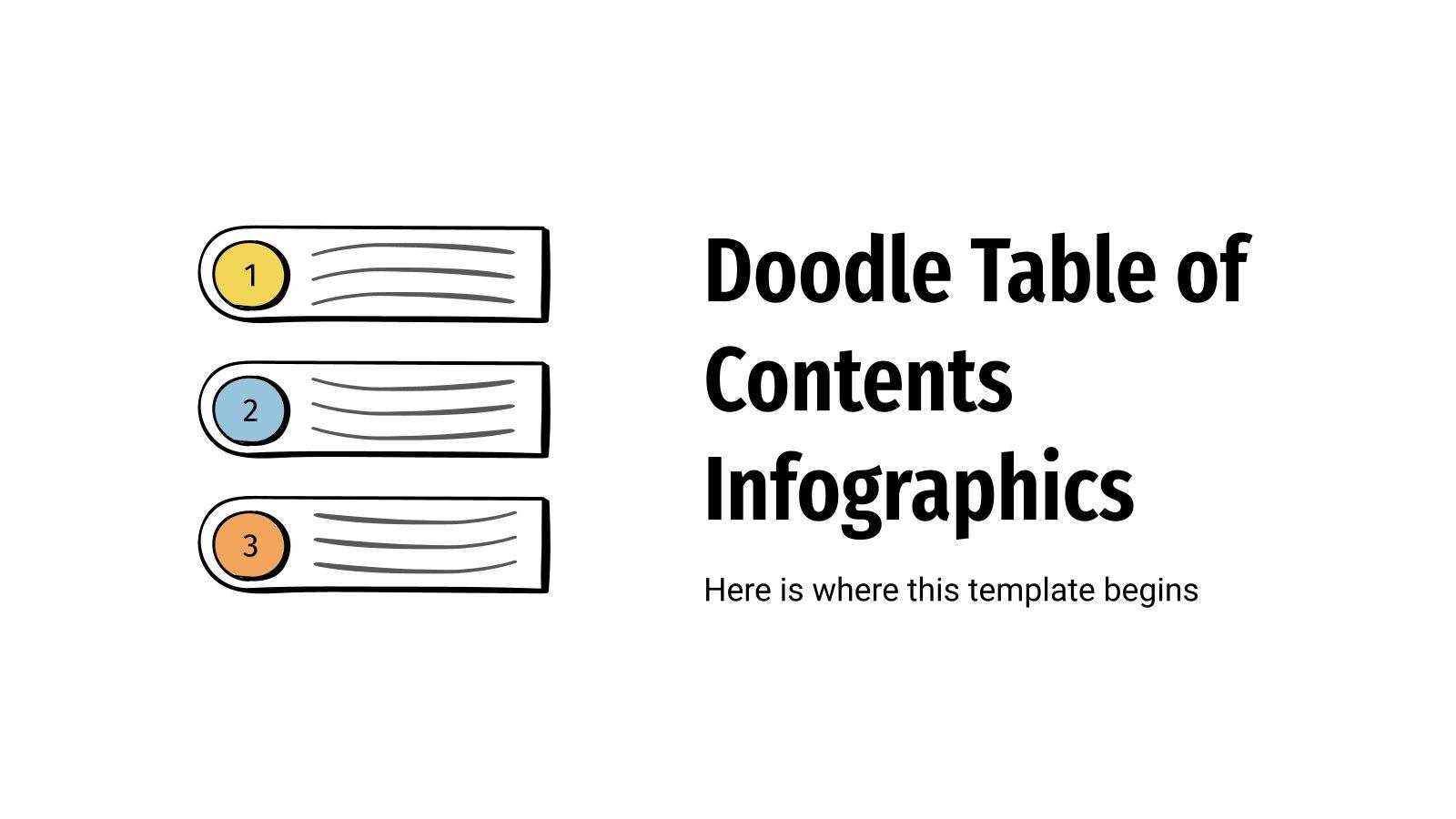 Modelo de apresentação Infográficos de índice com rabiscos