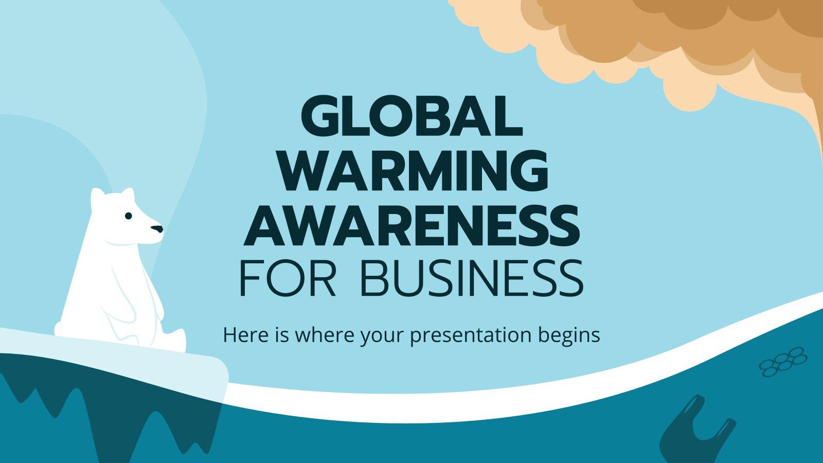 Modelo de apresentação Conscientização sobre o aquecimento global para os negócios