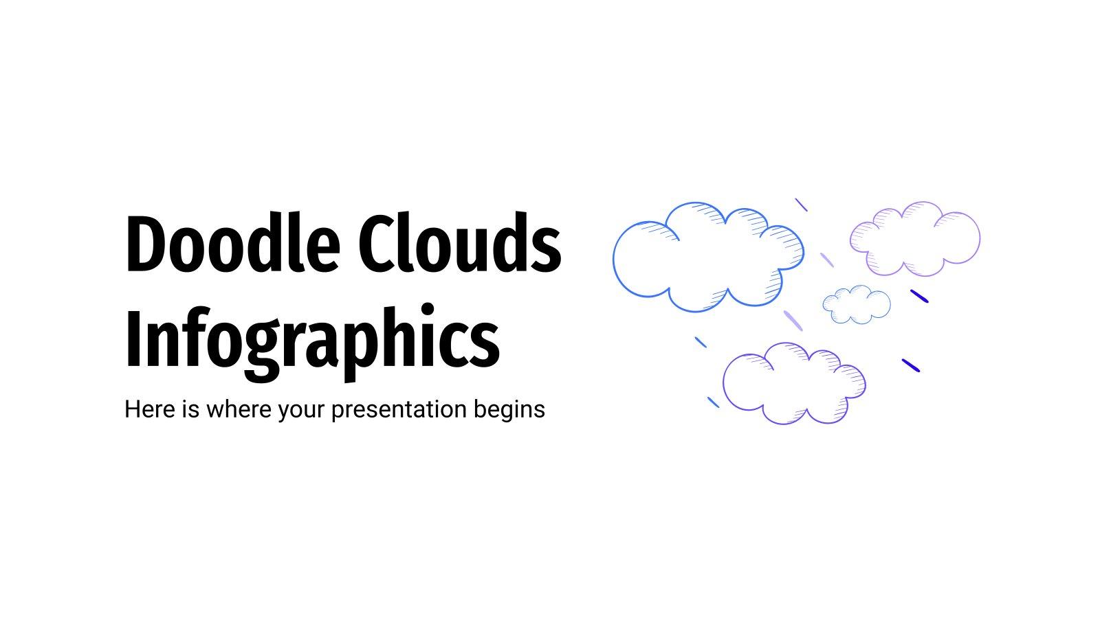 Modelo de apresentação Infográficos de nuvens com rabiscos