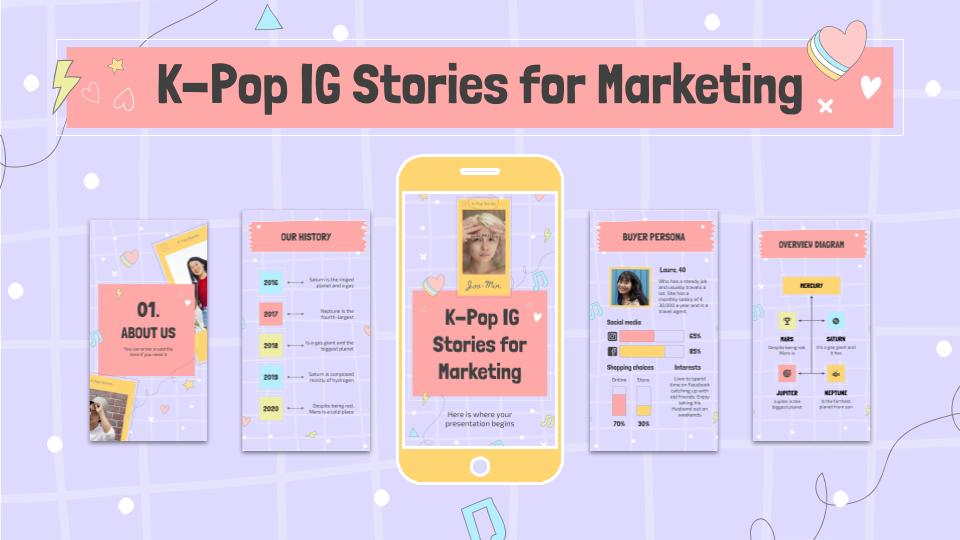 K-Pop IG Stories für Marketing Präsentationsvorlage