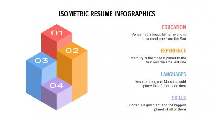 Infografik isometrischer Lebenslauf Präsentationsvorlage