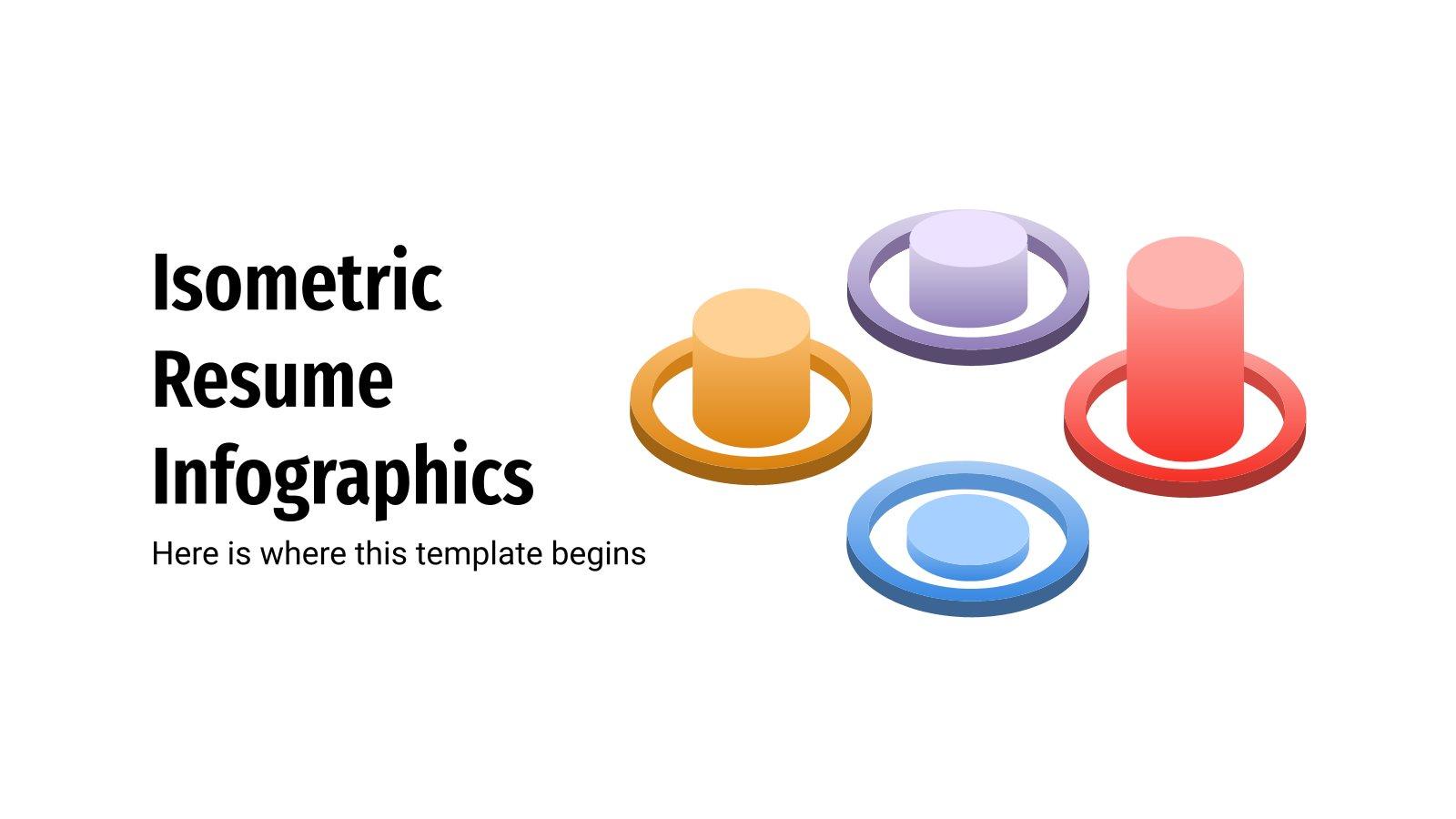Modelo de apresentação Infográficos de CV isométricos