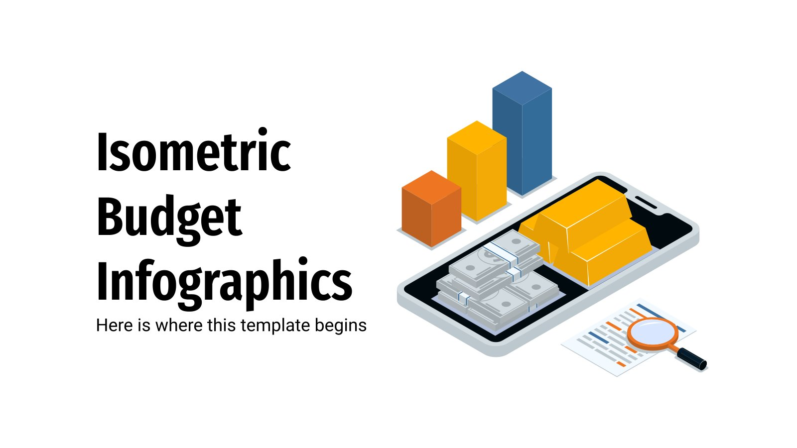Isometric Budget Infographics presentation template