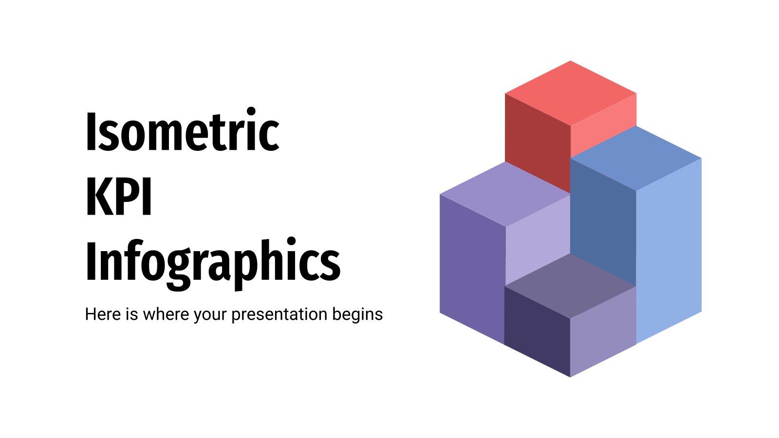 Infographies de KPI isométriques : Modèles de présentation