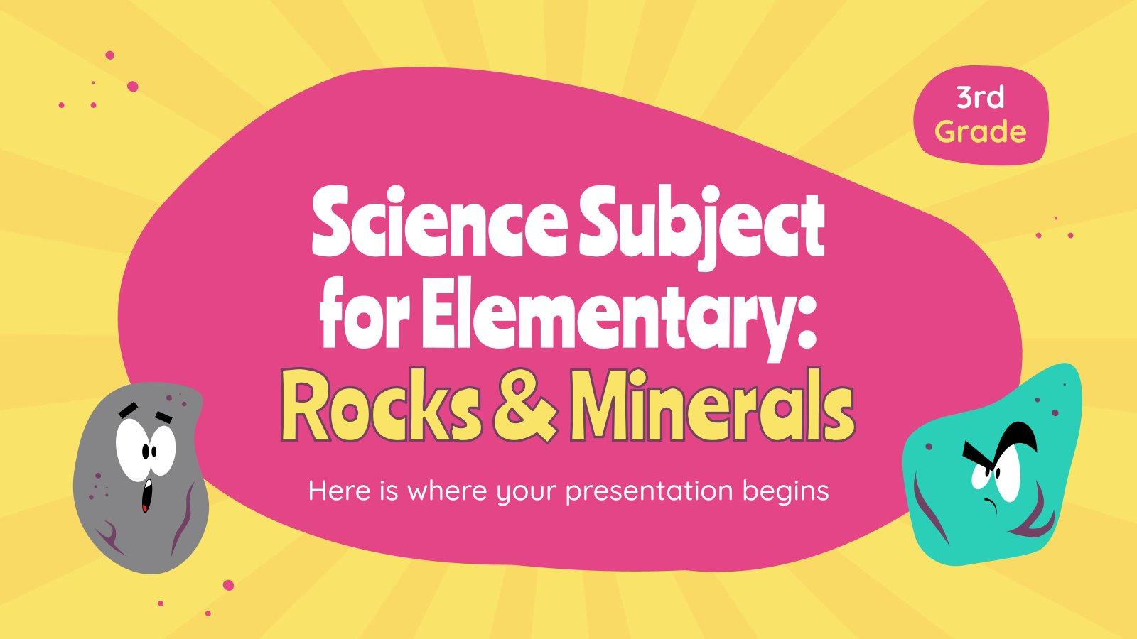 Plantilla de presentación Ciencias para primaria: Rocas y minerales