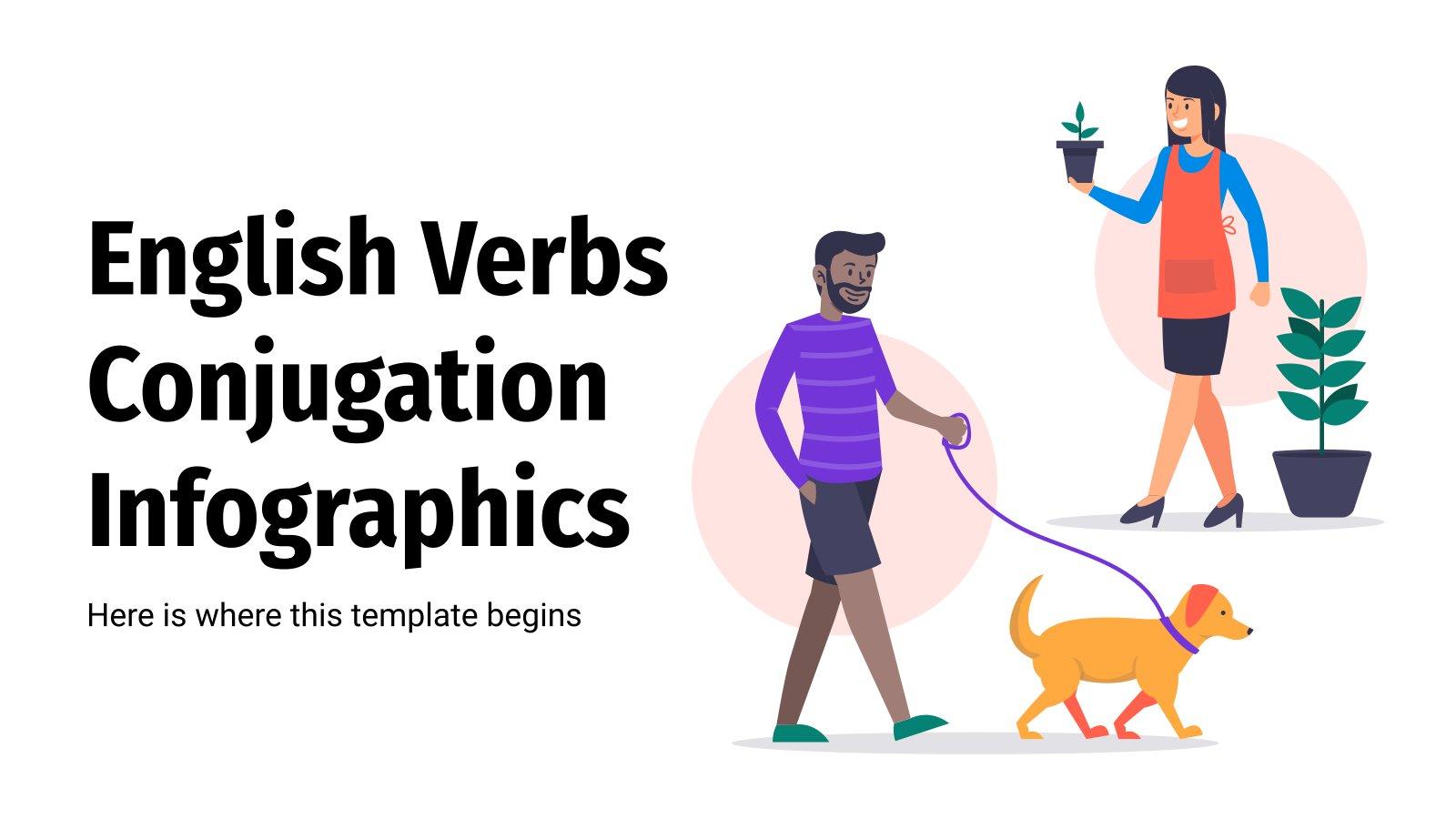 Plantilla de presentación Infografías: la conjugación en inglés